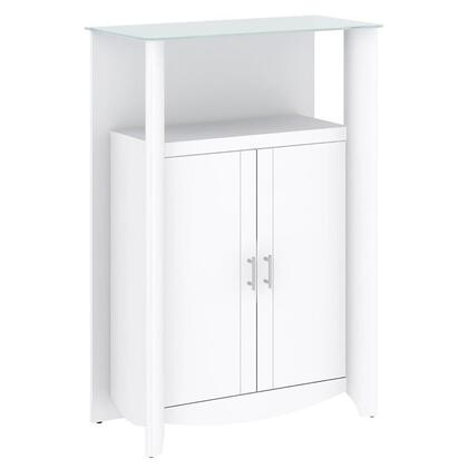 Aero MY16191-03 2-Door Medium Library Storage with Frosted Glass Top  Adjustable Shelf and 2 Doors in Pure White