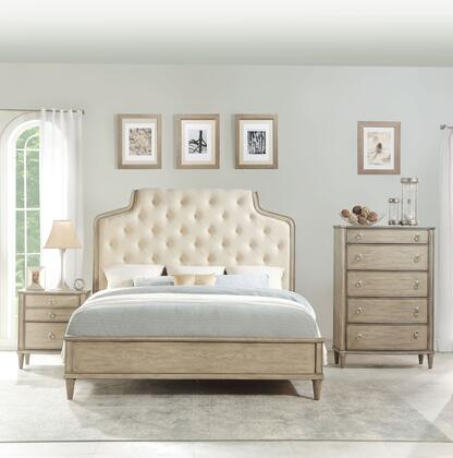 Wynsor Collection 27524CK3SET 3 PC Bedroom Set with California King Size Bed  Chest and Nightstand in Antique Champagne