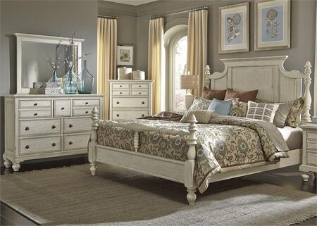 High Country Collection 697-BR-KPSDMC 4-Piece Bedroom Set with King Poster Bed  Dresser  Mirror and Chest in White