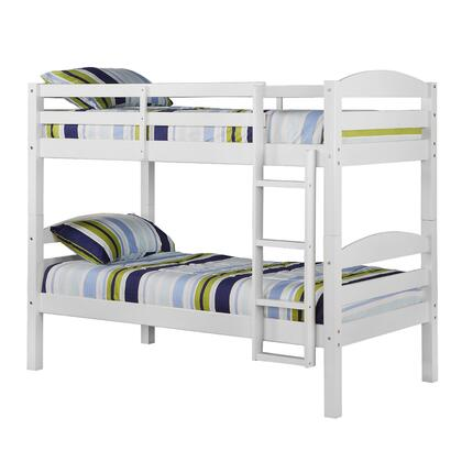 BWSTOTWH Solid Wood Twin over Twin Bunk Bed with Full Length Guardrails and Integrated Ladder in