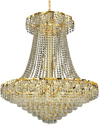VECA1D30G/EC Belenus Collection Chandelier D:30In H:38In Lt:18 Gold Finish (Elegant Cut