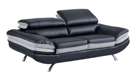 U7110-BL/LGR-L Loveseat with Headrest with Function and Bonded Leather Upholstery in Natalie Black/Natalie Light