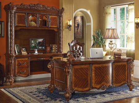 Vendome 92125SET 3 PC Office Furniture with Executive Desk + Executive Chair + Office Desk with Hutch in Cherry