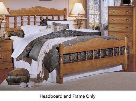 Carolina Oak 237350-982000-79091-Q 63 inch  Queen Sized Bed with Metal Frame and Spindle Headboard in Golden