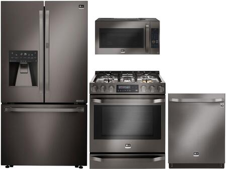 Studio Series 4-Piece Kitchen Package With LSFXC2476D 36 inch  Counter Depth French Door Refrigerator  LSSG3019BD 30 inch  Slide-in Gas Range  LSMC3089BD 30 inch  Over the