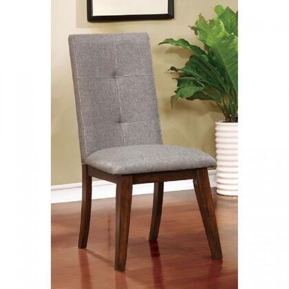 Abelone Collection CM3354SC-2PK Set of 2 Mid-Century Modern Style Side Chair with Tufted Back and Flared Angular Legs in Walnut