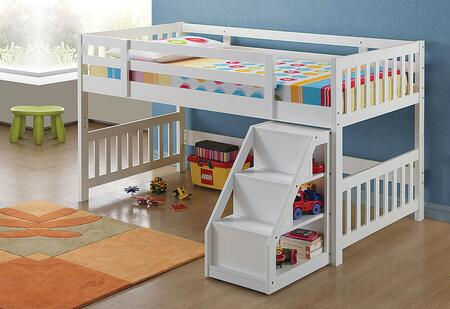 Cutie Collection 37065 Twin Size Loft Bed with Storage Ladder  Slat System Included  Storage Space Staircase and Solid Wood Construction in White