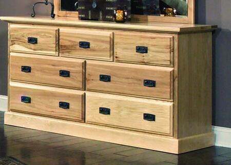 Amish Highlands AHINT5500 Solid Hickory Dresser with Solid Fronts  English Dovetail Construction and Felt lined top drawers in Natural