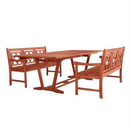 Malibu Collection V232SET44 3 PC Outdoor Patio Dining Set with 2 Benches  Rectangular Shaped Table  Umbrella Hole  Rustic Style and Eucalyptus Solid Wood