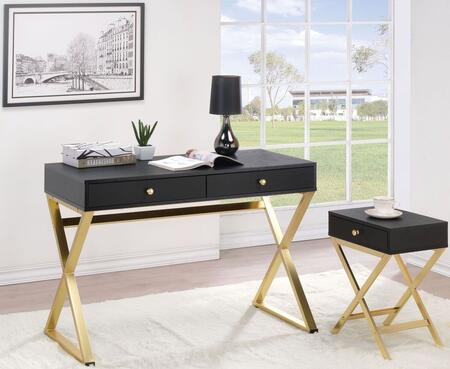 Coleen Collection 92310SET 2 PC Office Furniture with Desk + Side Table in Black ad Brass