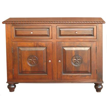 Ftr-sb57rlp 57 Texas Ranch Sideboard  Hand Crafted Solid Mango Wood  Hand-carved Star Insets And Scroll Border
