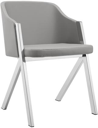 Acorn Collection CB-F3202-G Dining Armchair with Stainless Steel Legs  Mid Backrest  Sloped Arms  Modern Style and Eco-Leather Upholstery in Dark Grey