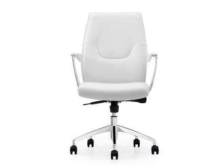 Arena Collection CB-O110-WH Office Chair with Casters  Chrome Frame  Modern Style  Commercial Grade  Adjustable Height  Hydraulic Mechanism and Eco-Leather
