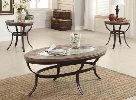 Everton Collection 81540 3 PC Living Room Table Set with 5mm Clear Tempered Glass Top  Beveled Edges  Wooden Trim Top  Support Ring and Metal Frame in Oak and