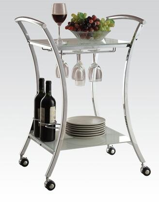 Anker Collection 98127 23 inch  Serving Cart with Metal Frame  Wine Bottle Holder  Mobility Casters  Stemware Rack and Tempered Glass Shelves in White