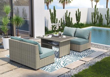 Silent Brook Collection P443-625SET 5-Piece Patio Set with Rectangular Outdoor Multi-Use Table and 4 Armless Chairs in