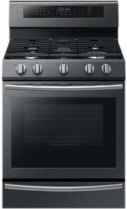 "NX58M6650WG 30"" Freestanding Gas Range with 5.8 cu. ft. Oven Capacity  5 Sealed Burners  True Convection  and Steam Reheat  in Black Stainless"