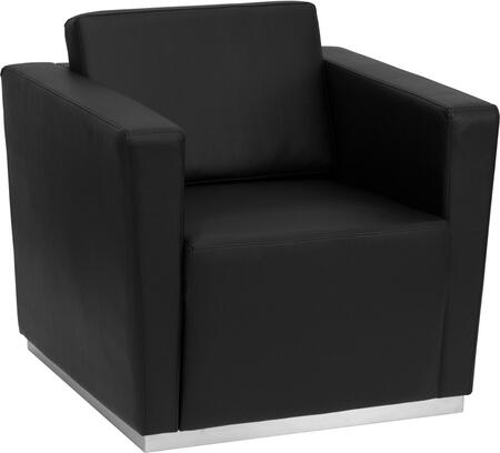 ZB-TRINITY-8094-CHAIR-BK-GG HERCULES Trinity Series Contemporary Black Leather Chair with Stainless Steel