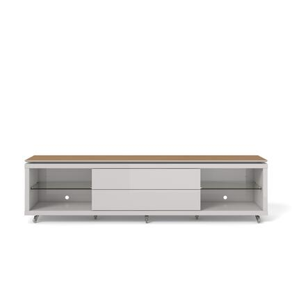 """Lincoln 2.2 Collection 17354 85"""" TV Stand with Silicone Casters  4 Shelves and 2 Telescopic Drawer Slides in Maple Cream and Off"""