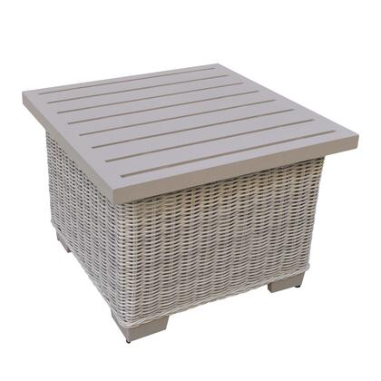 Coast Collection TKC038b-ET 24 inch  End Table with Hand Woven Polyethylene Wicker  Powder Coated Aluminum Top and Rust-Resistant Feet in Vanilla Cr
