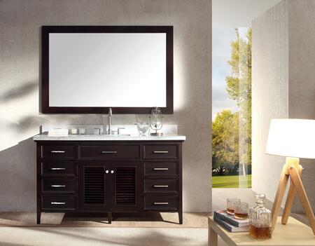 D061SESP Ariel Kensington 61 Single Sink Vanity Set with Marble Top  Mirror  Eight Drawers and Two Doors in