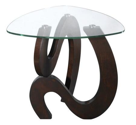 668-028 Nassau Shaped End Table with Triangle Pencil Edge 8mm Tempered Glass Top with Stainless Steel Brushed Nickel