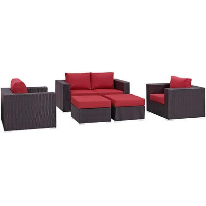 Convene Collection EEI-2158-EXP-RED-SET 5-Piece Outdoor Patio Sofa Set with Loveseat  2 Armchairs and 2 Ottomans in