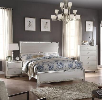 Voeville II Collection 24834CK3SET 3 PC Bedroom Set with California King Size Bed  Chest and Nightstand in Platinum