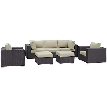 Convene Collection EEI-1808-EXP-BEI-SET 7 PC Outdoor Patio Sectional Set with Powder Coated Aluminum Frame  Washable Cushion Covers and Synthetic Rattan Weave