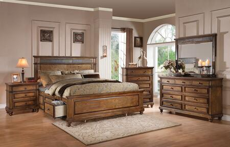 Arielle 24477EK5PC Bedroom Set with Eastern King Size Bed + Dresser + Mirror + Chest + Nightstand in Slate and Oak