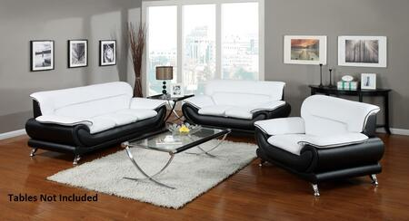 Orel 50455SLC 3 PC Living Room Set with Sofa + Loveseat + Chair in White and Black