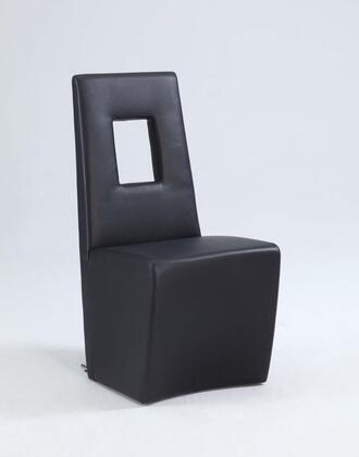 Chasity Collection CHASITY-SC-BLK Fully Upholstered Side Chair with Stainless Steel Frame and PU Leather Upholstery in Black