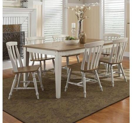 Al Fresco Collection 541-CD-7RLS 7-Piece Dining Room Set with Rectangular Dining Table and 6 Slat Back Side Chairs in Driftwood & Taupe
