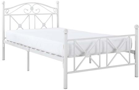 Cottage Collection EEI-799 Twin Size Bed with Low Profile Footboard  Round Ball Finials  Welded Iron Construction and Powder Coated Steel Frame in White