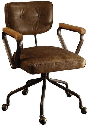 Hallie Collection 92410 Executive Office Chair with Swivel Seat  Tilt Backrest  5-Star Caster Base  Wooden Armrest  Metal Frame and Top Grain Leather