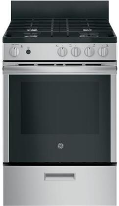 GE JGAS640RMSS 24 Inch Freestanding Gas Range with 4 Burners, Sealed Cooktop, 2.3 cu. ft. Primary Oven Capacity, in Stainless Steel