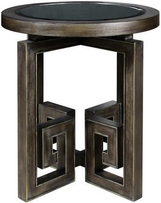 Albyn P020235 Leg Table with Wood Top  Greek Key Design and Glass Insert in Metallic Brown / Green