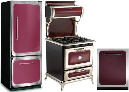 3-Piece Cranberry Kitchen Package with 301500RCRN 30 inch  Bottom Freezer Refrigerator  920000GCRN 30 inch  Freestanding Gas Range  and HCTTDWCRN 24 inch  Fully Integrated