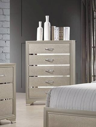 Beaumont 205295 5 Drawer Chest with Kenlin Center Drawer Glides and English Dovetail Construction in Champagne