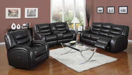 Dacey 50740SLRT 5 PC Living Room Set with Sofa + Loveseat + Recliner + Coffee Table + End Table in Black