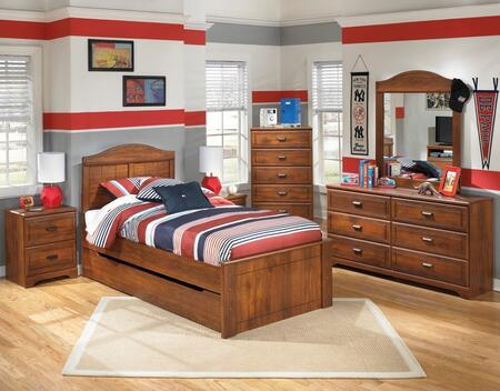 Barchan Full Bedroom Set with Panel Bed with Trundle  Dresser  Mirror  Chest and 2 Nightstands in Warm