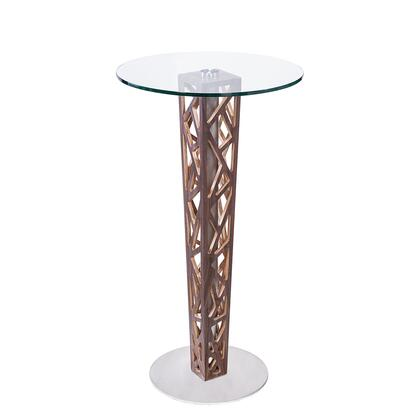 LCCRBTTO Crystal Bar Table with Walnut Veneer column and Brushed Stainless Steel finish with Clear Tempered Glass