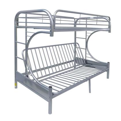 Eclipse Collection 02091WSI Twin/Full/Futon Bunk Bed with Full Length Guard Rail  Metal Tube Slats Included and Built-In Side Ladders in Silver