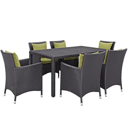 Convene Collection Eei-2241-exp-per-set 7 Pc Outdoor Patio Dining Set With Powder Coated Aluminum Frame  All-weather Fabric Cushions And Synthetic Rattan Weave