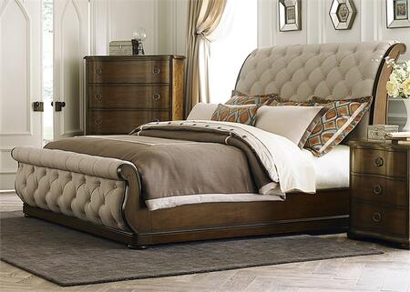 Cotswold Collection 545-BR-KSL King Sleigh Bed with Sleigh Headboard and Footboard  Tufted Linen Upholstery and Bun Feet in Cinnamon