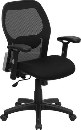 LF-W42B-GG Mid-Back Super Mesh Office Chair with Black Fabric