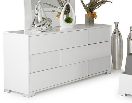 Modrest Monza Italian Collection VGACMONZA-DSR 66 inch  Dresser with 3 Large Drawers  Silver Reflective Accents and Glossy Crocodile Textured Finish in