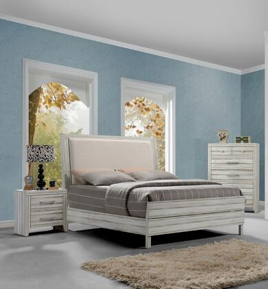 Shayla Collection 23974CK3SET 3 PC Bedroom Set with California King Size Bed  Chest and Nightstand in Antique White