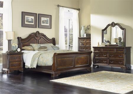 Highland Court Collection 620-BR-KSLDMCN 5-Piece Bedroom Set with King Sleigh Bed  Dresser  Mirror  Chest and Night Stand in Rich Cognac
