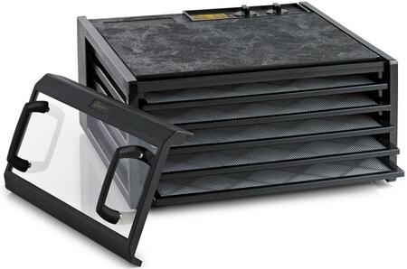 3526TCDB Clear Door Dehydrator with 5 Trays  8 Sq. Ft. of Drying Area  Adjustable Thermostat  26 Hour Timer  5 Year Limited Warranty  and Drying Trays in: